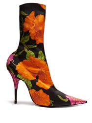Balenciaga Knife Point Toe Floral Print Ankle Boots Black Multi
