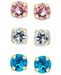 Macy's Cubic Zirconia 3 Pc. Set Colored Stud Earrings In 10K Gold Yellow Gold