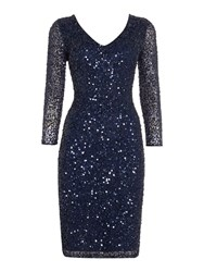 Js Collections All Over Sequin V Neck Dress Navy