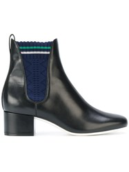 Fendi Knitted Panel Boots Cotton Leather Black