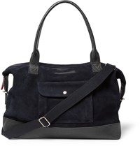 Oliver Spencer Pebble Grain Leather Trimmed Suede Holdall Midnight Blue