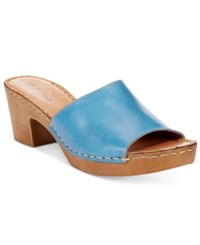 White Mountain Morsel Block Heel Platform Sandals Women's Shoes Blue