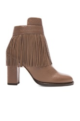 Valentino Rockee Fringe Ankle Leather Booties In Brown Neutrals