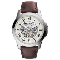 Fossil Me3099 Men's Grant Skeleton Automatic Leather Strap Watch Brown White