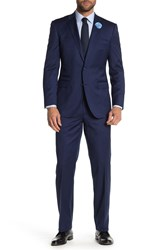 English Laundry Blue Sharkskin Two Button Notch Lapel Wool Suit French Blue