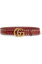 Gucci Cerise Embossed Leather Belt Red