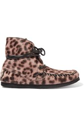 Etoile Isabel Marant Flavie Leopard Print Calf Hair Moccasin Boots Animal Print