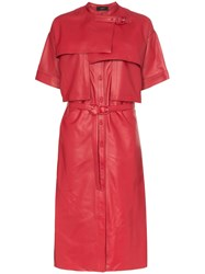 Joseph Riley Collarless Short Sleeved Leather Trench Coat Red