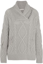 Stella Mccartney Cable Knit Cashmere And Wool Blend Sweater Light Gray