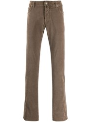 Jacob Cohen Straight Leg Corduroy Trousers Neutrals