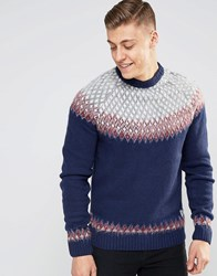Bellfield Brushed Jacquard Knitted Jumper Navy