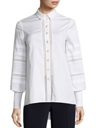 Carolina Herrera Pleated Button Front Blouse Natural