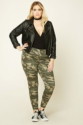 Forever 21 Plus Size Camo Print Jeans Olive Black