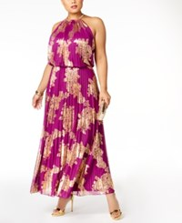 Msk Plus Size Metallic Print Pleated Blouson Halter Gown Berry Gold