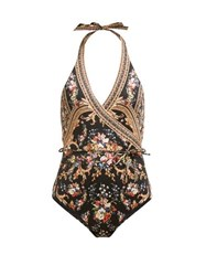 Camilla Friend In Flora Halterneck Swimsuit Brown Print