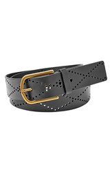 Women's Fossil Diamond Perforated Leather Belt Black