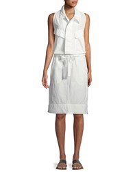 Urban Zen Sleeveless Tie Waist Cotton Poplin Safari Dress Ivory