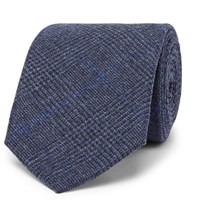 Kingsman Drake's 8Cm Prince Of Wales Checked Wool Tie Navy