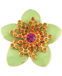 Carolee Gold Tone Green Enamel Multi Crystal Flower Pin