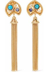Ben Amun Gold Tone Stone And Tassel Clip Earrings Gold
