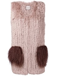 Urbancode Contrast Pockets Fur Jacket Nude And Neutrals