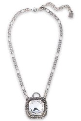 Dannijo Woman Oxidized Silver Tone Crystal Necklace Silver