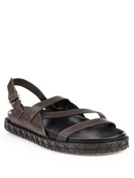 Fendi Multi Strap Leather Sandals Dark Brown