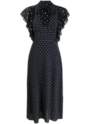 Karl Lagerfeld Pussy Bow Dotted Dress Black