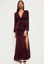 Missguided Burgundy Silky Plunge Frill Detail Maxi Dress