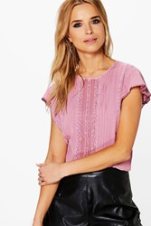 Boohoo Crochet Trim Front Blouse Pink