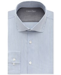 Calvin Klein Men's X Extra Slim Fit Empire Blue Striped Dress Shirt
