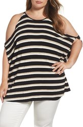 Vince Camuto Plus Size Women's Desert Stripe Cold Shoulder Top Rich Black