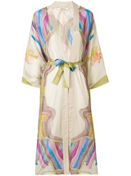 Mes Demoiselles Printed Belted Waist Kimono Coat Nude And Neutrals