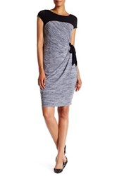 Sangria Cap Sleeve Melange Shift Dress Black