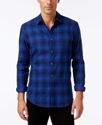 Alfani Men's Slim Fit Brushed Plaid Shirt Only At Macy's Blue