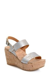 Women's Kork Ease 'Austin' Slingback Wedge Sandal Silver Metallic Leather