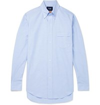 Drakes Easyday Slim Fit Button Down Collar Cotton Oxford Shirt Light Blue