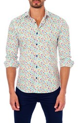 Unsimply Stitched Long Sleeve Printed Semi Fitted Woven Shirt Multi