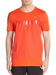 Puma Perforated Paneled Tee Red