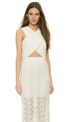 Monique Lhuillier Billie Crisscross Crop Top Silk White