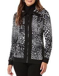 Rafaella Petites Petite Leopard Print French Terry Jacket Black Multi
