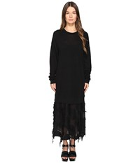 Yohji Yamamoto O Sweat One Piece With Textured Under Skirt Black