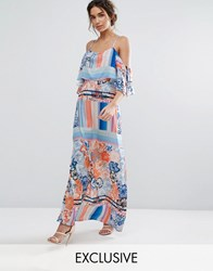 Every Cloud Multicoloured Floral Maxi Dress With Flutter Cold Shoulder Sleeve Multi Mash Up