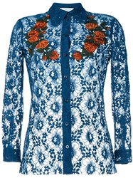 Gucci Floral Embroidered Sheer Lace Shirt Blue