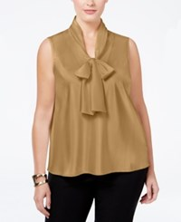 Nine West Plus Size Tie Neck Blouse Champagne 458