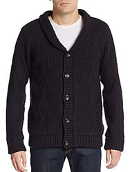 American Stitch Cable Knit Shawl Cardigan Black