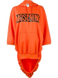 Moschino Caution Print Hoodie Yellow And Orange