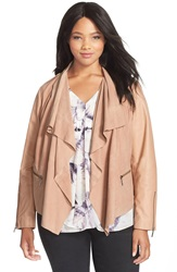 Bernardo Drape Front Suede And Leather Jacket Plus Size Blush