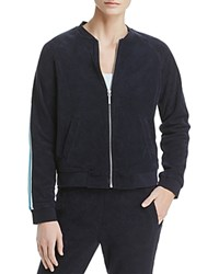 Marc New York Performance Stripe Trimmed Terry Bomber Jacket Midnight
