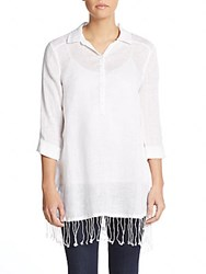 Saks Fifth Avenue Fringe Trim Linen Shirt White